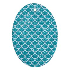 Scales1 White Marble & Turquoise Glitter Ornament (oval) by trendistuff