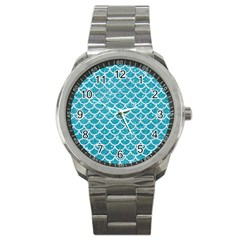 Scales1 White Marble & Turquoise Glitter Sport Metal Watch