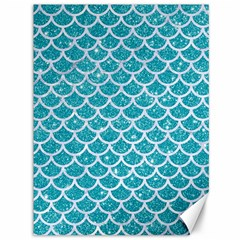 Scales1 White Marble & Turquoise Glitter Canvas 36  X 48   by trendistuff