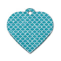 Scales1 White Marble & Turquoise Glitter Dog Tag Heart (one Side) by trendistuff