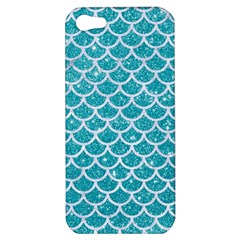 Scales1 White Marble & Turquoise Glitter Apple Iphone 5 Hardshell Case by trendistuff