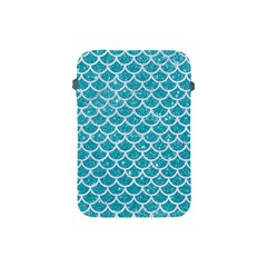 Scales1 White Marble & Turquoise Glitter Apple Ipad Mini Protective Soft Cases by trendistuff