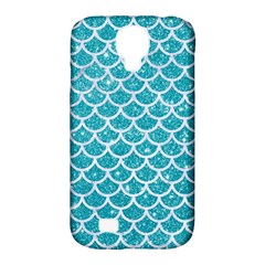 Scales1 White Marble & Turquoise Glitter Samsung Galaxy S4 Classic Hardshell Case (pc+silicone) by trendistuff
