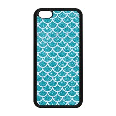 Scales1 White Marble & Turquoise Glitter Apple Iphone 5c Seamless Case (black)