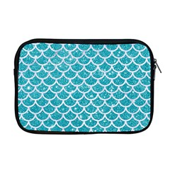 Scales1 White Marble & Turquoise Glitter Apple Macbook Pro 17  Zipper Case by trendistuff