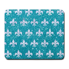 Royal1 White Marble & Turquoise Glitter (r) Large Mousepads by trendistuff