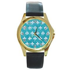 Royal1 White Marble & Turquoise Glitter (r) Round Gold Metal Watch by trendistuff
