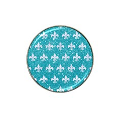 Royal1 White Marble & Turquoise Glitter (r) Hat Clip Ball Marker by trendistuff