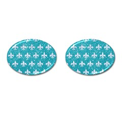Royal1 White Marble & Turquoise Glitter (r) Cufflinks (oval) by trendistuff