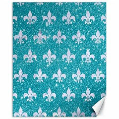 Royal1 White Marble & Turquoise Glitter (r) Canvas 16  X 20   by trendistuff