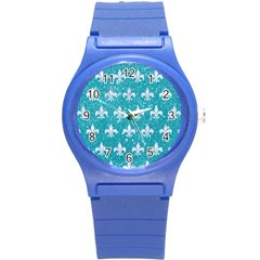 Royal1 White Marble & Turquoise Glitter (r) Round Plastic Sport Watch (s) by trendistuff