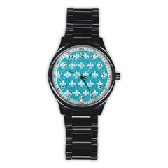 Royal1 White Marble & Turquoise Glitter (r) Stainless Steel Round Watch by trendistuff