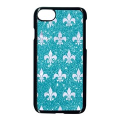 Royal1 White Marble & Turquoise Glitter (r) Apple Iphone 7 Seamless Case (black) by trendistuff