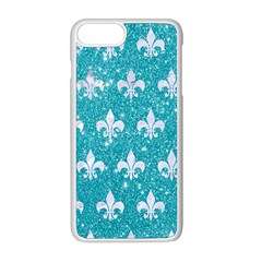 Royal1 White Marble & Turquoise Glitter (r) Apple Iphone 8 Plus Seamless Case (white)