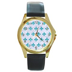 Royal1 White Marble & Turquoise Glitter Round Gold Metal Watch by trendistuff