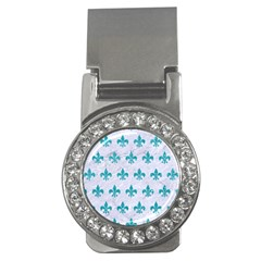 Royal1 White Marble & Turquoise Glitter Money Clips (cz)  by trendistuff