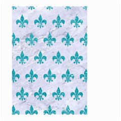 Royal1 White Marble & Turquoise Glitter Small Garden Flag (two Sides) by trendistuff