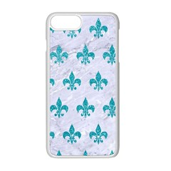 Royal1 White Marble & Turquoise Glitter Apple Iphone 8 Plus Seamless Case (white) by trendistuff