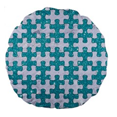 Puzzle1 White Marble & Turquoise Glitter Large 18  Premium Round Cushions by trendistuff