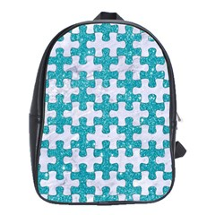 Puzzle1 White Marble & Turquoise Glitter School Bag (xl) by trendistuff