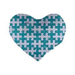 Puzzle1 White Marble & Turquoise Glitter Standard 16  Premium Flano Heart Shape Cushions by trendistuff