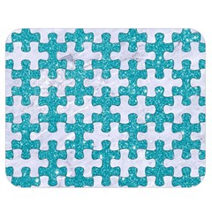 Puzzle1 White Marble & Turquoise Glitter Double Sided Flano Blanket (medium)  by trendistuff