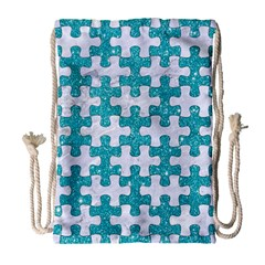 Puzzle1 White Marble & Turquoise Glitter Drawstring Bag (large) by trendistuff