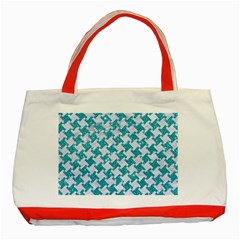 Houndstooth2 White Marble & Turquoise Glitter Classic Tote Bag (red) by trendistuff