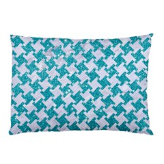 Houndstooth2 White Marble & Turquoise Glitter Pillow Case by trendistuff