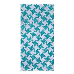 Houndstooth2 White Marble & Turquoise Glitter Shower Curtain 36  X 72  (stall)  by trendistuff