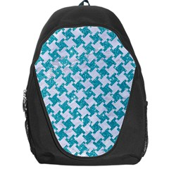 Houndstooth2 White Marble & Turquoise Glitter Backpack Bag by trendistuff