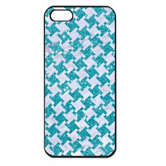 Houndstooth2 White Marble & Turquoise Glitter Apple Iphone 5 Seamless Case (black) by trendistuff