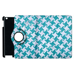Houndstooth2 White Marble & Turquoise Glitter Apple Ipad 2 Flip 360 Case by trendistuff