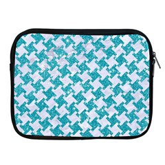 Houndstooth2 White Marble & Turquoise Glitter Apple Ipad 2/3/4 Zipper Cases by trendistuff