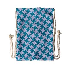 Houndstooth2 White Marble & Turquoise Glitter Drawstring Bag (small) by trendistuff