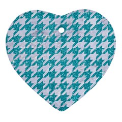 Houndstooth1 White Marble & Turquoise Glitter Heart Ornament (two Sides) by trendistuff
