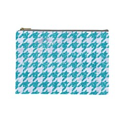 Houndstooth1 White Marble & Turquoise Glitter Cosmetic Bag (large)  by trendistuff