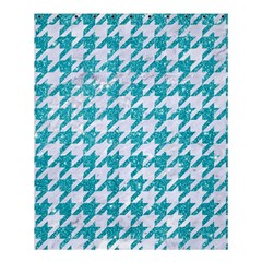 Houndstooth1 White Marble & Turquoise Glitter Shower Curtain 60  X 72  (medium)  by trendistuff