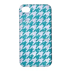 Houndstooth1 White Marble & Turquoise Glitter Apple Iphone 4/4s Hardshell Case With Stand by trendistuff