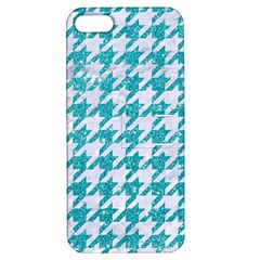 Houndstooth1 White Marble & Turquoise Glitter Apple Iphone 5 Hardshell Case With Stand by trendistuff