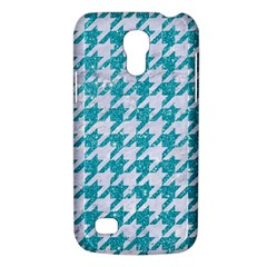 Houndstooth1 White Marble & Turquoise Glitter Galaxy S4 Mini by trendistuff