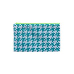 Houndstooth1 White Marble & Turquoise Glitter Cosmetic Bag (xs) by trendistuff