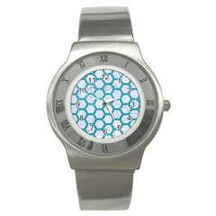 Hexagon2 White Marble & Turquoise Glitter (r) Stainless Steel Watch
