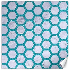Hexagon2 White Marble & Turquoise Glitter (r) Canvas 20  X 20   by trendistuff