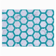 Hexagon2 White Marble & Turquoise Glitter (r) Large Glasses Cloth