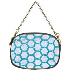 Hexagon2 White Marble & Turquoise Glitter (r) Chain Purses (one Side)