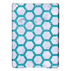 Hexagon2 White Marble & Turquoise Glitter (r) Ipad Air Hardshell Cases by trendistuff