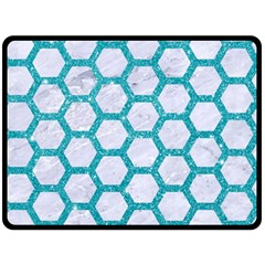 Hexagon2 White Marble & Turquoise Glitter (r) Double Sided Fleece Blanket (large)  by trendistuff