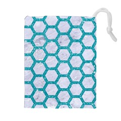 Hexagon2 White Marble & Turquoise Glitter (r) Drawstring Pouches (extra Large) by trendistuff