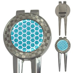 Hexagon2 White Marble & Turquoise Glitter 3 In 1 Golf Divots by trendistuff